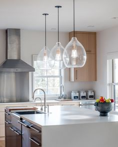 In The Clear Neutral Ford And Decorating - Kitchen pendant light fittings