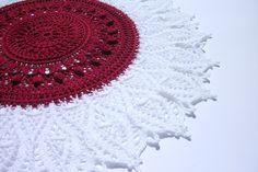 Red and white lace doily 14,5 inches Momentous occasions Crochet round doily Table decor Lace crochet doily Crochet centerpiece Home decor - pinned by pin4etsy.com