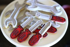 Screwdriver and wrench cookies from Classic Car Garage Birthday Party at Kara\'s Party Ideas. See more at karaspartyideas.com!