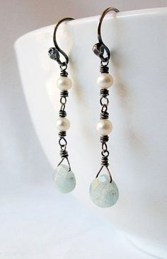 Aquamarine and Pearl Earrings Sterling Silver