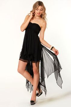 LuLu's Shredded Sweet Strapless Black Dress.  $49.00