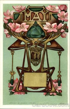 May - Gemini horoscope Art Nouveau Victorian vintage postcard)