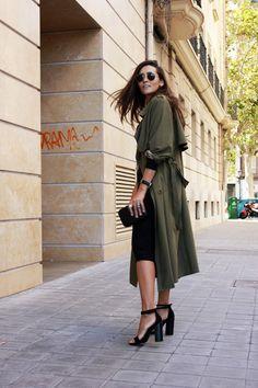 Zara dress, long, militar trench, midi, coohuco