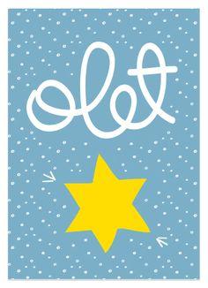 Olet tähti (vaaleansininen) postikortti