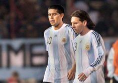 Juan Roman Riquelme and Lionel Messi