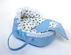 Blue Doll Bassinet for for 3.5 - 4 inches baby doll/Childfriendly stuffed toy doll crib, doll accessory/Playscale toy by AnnaToys on Etsy