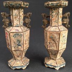 Chine, paire de vases en soie, 18ème siècle