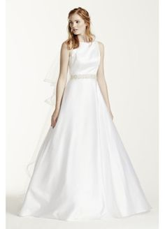 High Neck Satin Aline Gown with Open Back WG3710
