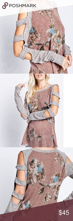 "New! Gorgeous Cut out sleeve knit tunic Gray cut out sleeves trim this Mocha colored Tunic. Faded blue, brown and white fall floral pattern . Measurements lying flat Bust (armpit to armpit) S19"" M20"" L21"" Length S28"" M29"" L30"" Angelique's Atelier Tops"