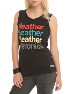 "Black sleeveless top from Heathers: The Musical with a ""Heather Heather Heather Veronica"" stacked names design on front."