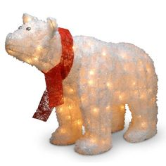 "$129.99-$139.98 Pre-Lit Indoor-Outdoor Polar Bear with Red Scarf. The 25"" Pre-Lit Indoor/Outdoor Polar Bear with Red Scarf is a great addition to any home to add some holiday spirit! The 25"" Pre-Lit Indoor/Outdoor Polar Bear with Red Scarf measures 24 high, is made for indoor or outdoor use and is pre-lit with 100 UL li"