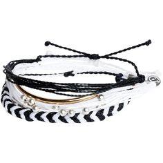 Pura Vida Bracelets Black and White Pack (£36) ❤ liked on Polyvore featuring jewelry, bracelets, accessories, pulseiras, bijoux, black and white, pura vida jewelry, braid jewelry, black and white jewelry and adjustable bangle