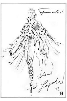 """Fendi by Karl Lagerfeld Sketch """"Idea Illustration Mode, Fashion Illustration Sketches, Fashion Sketches, Fashion Drawings, Karl Lagerfeld, Moda Fashion, Fashion Art, Fashion Design, Fendi"""