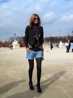 #jean #shorts and #black #tights - #autumn/winter #look #Sarah #Rutson from http://www.styledumonde.com/2009/03/sarah-rutson/