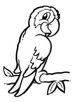 Coloriage pour enfant, un perroquet sur une branche