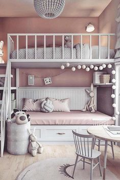 dream rooms for adults ; dream rooms for women ; dream rooms for couples ; dream rooms for adults bedrooms ; dream rooms for adults small spaces Girl Bedroom Designs, Room Ideas Bedroom, Bed Designs, Kids Bedroom Ideas For Girls, Bedroom Decor For Kids, Bunk Beds For Girls Room, Girl Kids Room, Room For Two Kids, Cool Teen Bedrooms
