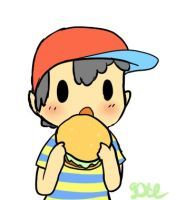 Ness eating a burger by DustyToonLink