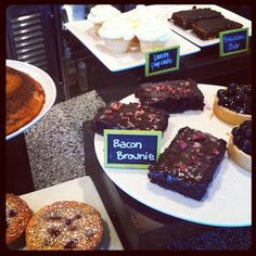 """Dessert today: Bacon Brownies and Snickers Bars"" (Tender Greens La Jolla-UTC)"