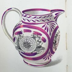 Beautiful #illustration of a #Sunderland #lustre jug #19thC #myfavourite #ceramics taken from a #firstedition #kingpenguin #1945 Popular English Art. Illustrated by #clarkehutton
