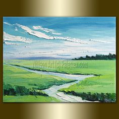 Like!   Original Landscape Painting Oil on Canvas Textured Palette Knife Contemporary Modern Art 12X16 by Willson Lau. $90.00, via Etsy.