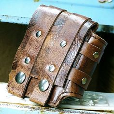 Rustic Leather Wrist Wallet Cuff for Men and Women - Distressed Brown - LoveItSoMuch.com