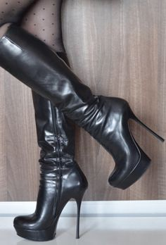 Sexy High Heels, Thigh High Boots Heels, Stiletto Boots, High Heels Stilettos, Heeled Boots, Beige Boots, High Leather Boots, Sexy Stiefel, Nylons Heels