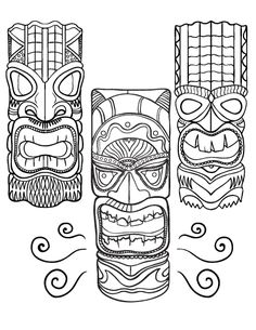 Printable Tiki Mask Coloring Pages - Modern Tiki Tattoo, Hawaiian Tiki, Hawaiian Theme, Tiki Maske, Tiki Faces, Tiki Art, Tiki Tiki, 3d Templates, Tiki Head