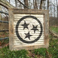 Barn Tin + Barn wood=The Perfect Sign. Our new original Tennessee tristar is made from materials collected from local Tennessee barns. Our tristar is hand painted black distressed and framed in with beautiful old natural barn wood frame. Available online at www.signniche.com