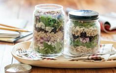 Lunch-in-a-Jar: Cherry Pecan Grain Salad // What a great idea! #summer #salad #picnic #recipe