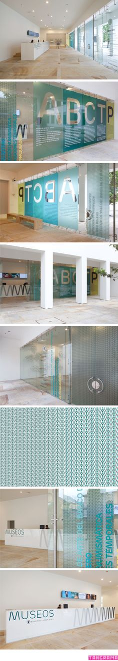 Office graphics. Window Film combining colors and lettering.