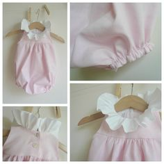 Too sweet | Pink baby romper with white ruffle collar