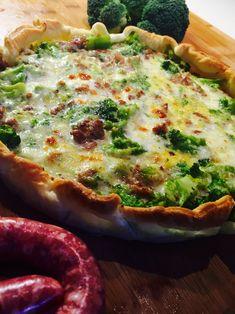 Torta salata con broccoli salsiccia e stracchino - Broccoli, sausage and stracchino cheese quiche