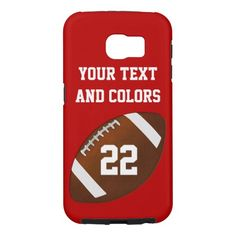 Personalized GALAXY S6 FOOTBALL Tough Phone Case. Many other Football phone cases. Change the COLORS of the background and text.