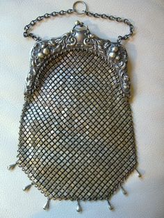 Antique Art Nouveau Floral Brass Silver Chain Mail Mesh Chatelaine Kilt Purse #EveningBag