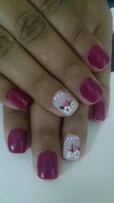 Uñas Shellac Nails, Manicure And Pedicure, Toe Nails, Pink Nails, Acrylic Nails, Stiletto Nails, Golden Nails, Accent Nails, Flower Nails