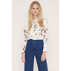 Forever 21 Women's  Tie-Neck Floral Print Blouse ($23) ❤ liked on Polyvore featuring tops, blouses, forever 21 tops, neck ties, long sleeve tie neck blouse, tie neck tie and necktie blouse