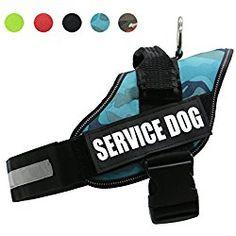AMZNOVA Reflective Service Dog Harness,Adjustable Dog Vest Harness with reflective Velcro patches,Camo Blue,S