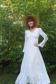 Vintage 70s Gunne Sax Dress White Corset Prairie Boho by soulrust, $79.99