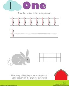 Worksheets: Tracing Numbers & Counting: 1