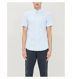 Reiss Dunning Slim-fit Cotton-poplin Shirt In Soft Blue Reiss, Poplin, Short Sleeves, Men Casual, Slim, Mens Fashion, Fitness, Mens Tops, Cotton