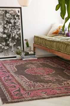 Complementary. Faded rose and  green. Magical Thinking Salma Printed Rug - Urban Outfitters