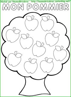 Image du Blog fr.pickture.com/blogs/nounoubricabrac Fruit Coloring Pages, Apple Coloring, Colouring Pages, Yarn Crafts For Kids, Fall Crafts, Preschool Activities, September Themes, Bird Template, Quiet Book Templates