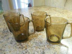 Vintage Pyrex Fireside Mugs Smoke Amber Retro Visions Corning Clear Glass 70s   eBay
