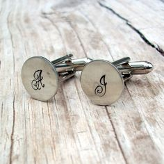 love initial cuff links. the font is luxurious