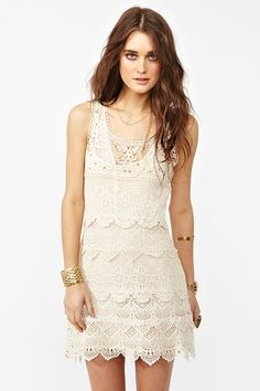 cream crochet dress w. gold studs and scalloped detailing + scoop neckline $128// perfect simple yet detailed at same time FAB