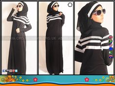 3 sporty style stripe abayas in black and white