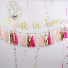 """Channel your inner Beyonce with this festive """"Drunk in Love"""" gold glitter banner!Perfect for dressing up the bachelorette party pad, guests will love getting i"""
