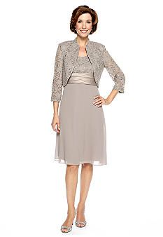 RM Richards Three-Quarter Sleeved Lace Jacket Dress with Sequin Groom's Mother dress wedding