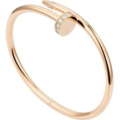 CARTIER Juste un Clou 18ct pink-gold and diamond bracelet (£8,600) ❤ liked on Polyvore featuring jewelry, bracelets, cartier bracelet, diamond jewelry, diamond jewellery, rose gold wrap bracelet and rose gold jewelry