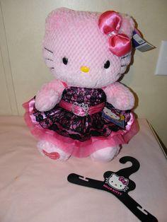 BUILD A BEAR PINK Hello Kitty w/ Hello Kitty Black Lace Dress. Sooo cute